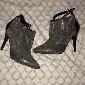 Sparkly stiletto booties